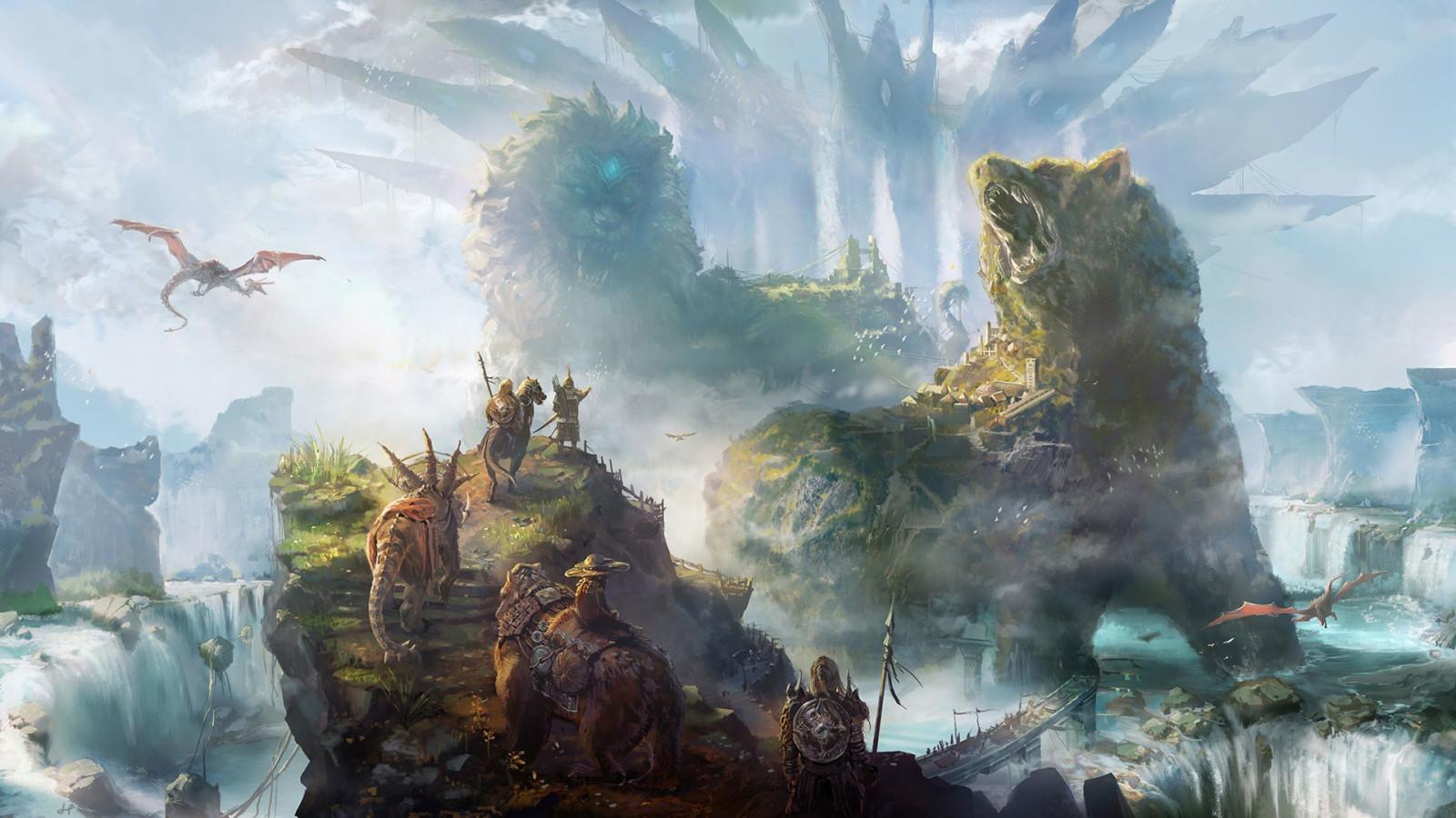 デスクトップ壁紙 ファンタジーアート 戦い 神話 地形