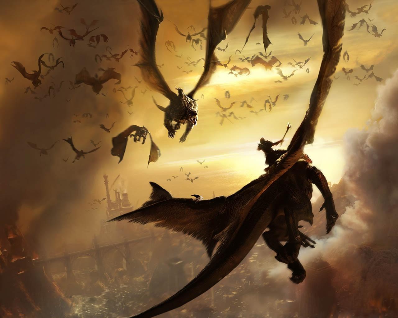 Wallpaper Illustration Flying Dragon Mythology
