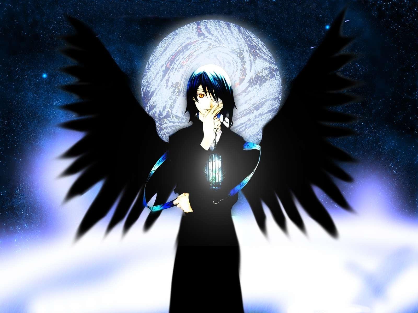 Wallpaper Illustration Anime Brunette Wings Angel Moon Boy