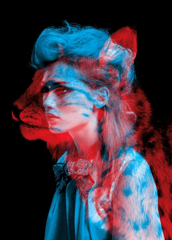 Wallpaper : animals, women, red, blue, fur, head, anaglyph 3D, ART
