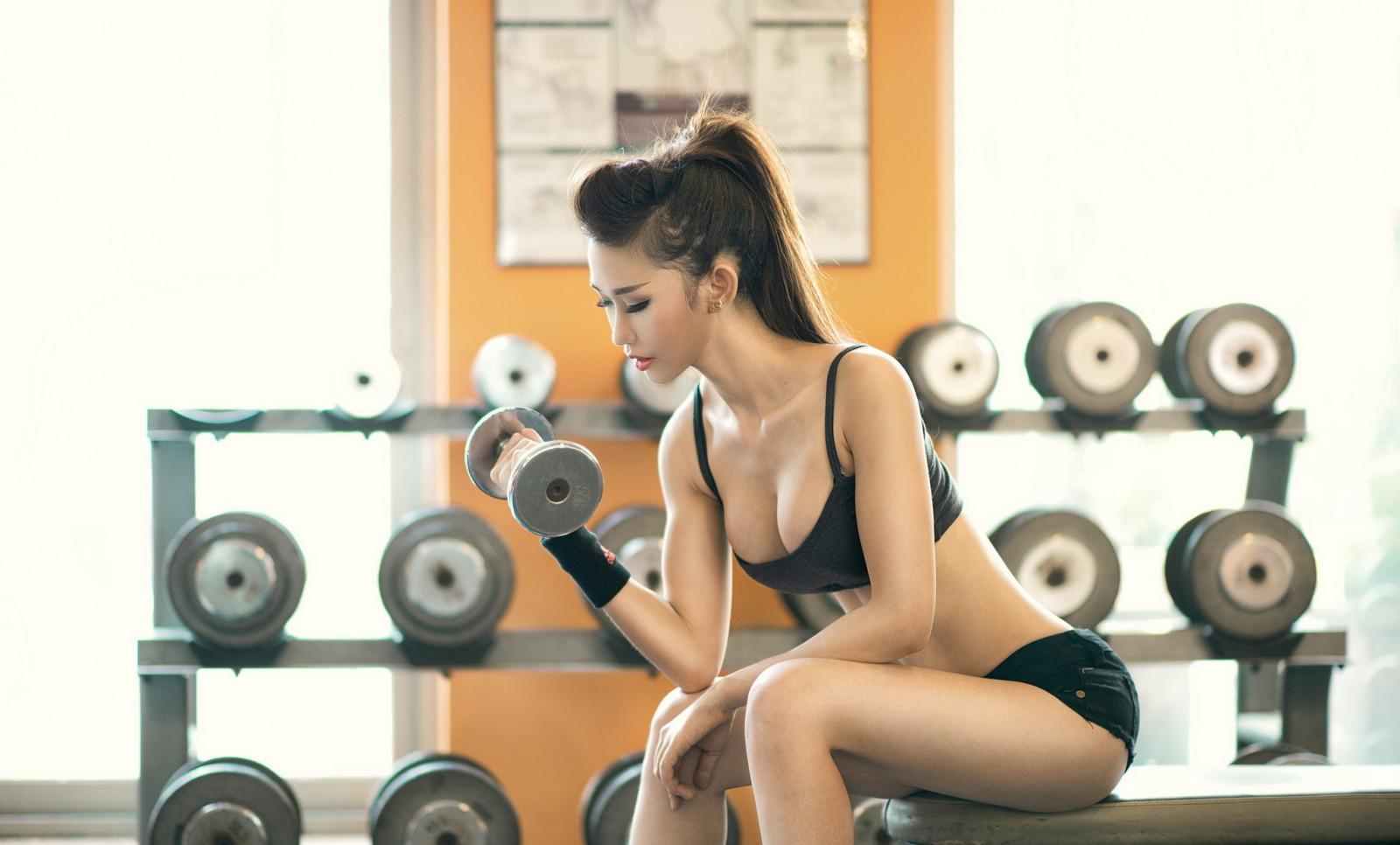 Tapet sport, kvinder, brunette, værelse, asiatisk, siddende-9875