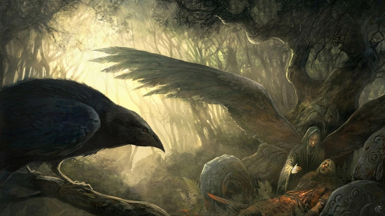 Masaustu Boyama Kanatlar Vikingler Karga Mitoloji Karanlik