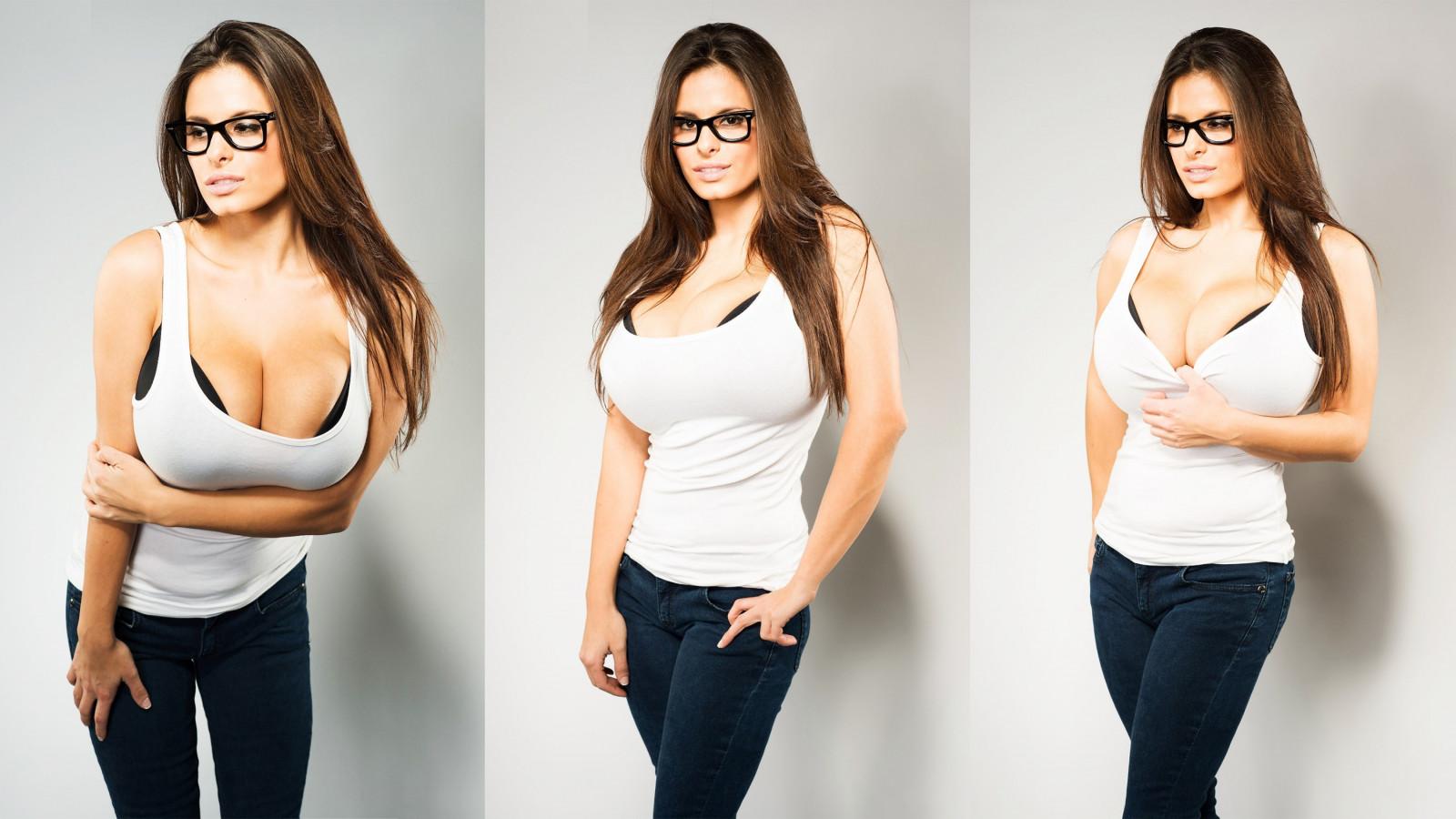 Brunette Women Wendy Fiore Glasses Jeans White Tops Women With Glasses Long Hair White Background Black