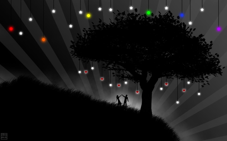 Wallpaper Pohon Ilustrasi Cinta Mewarnai Selektif
