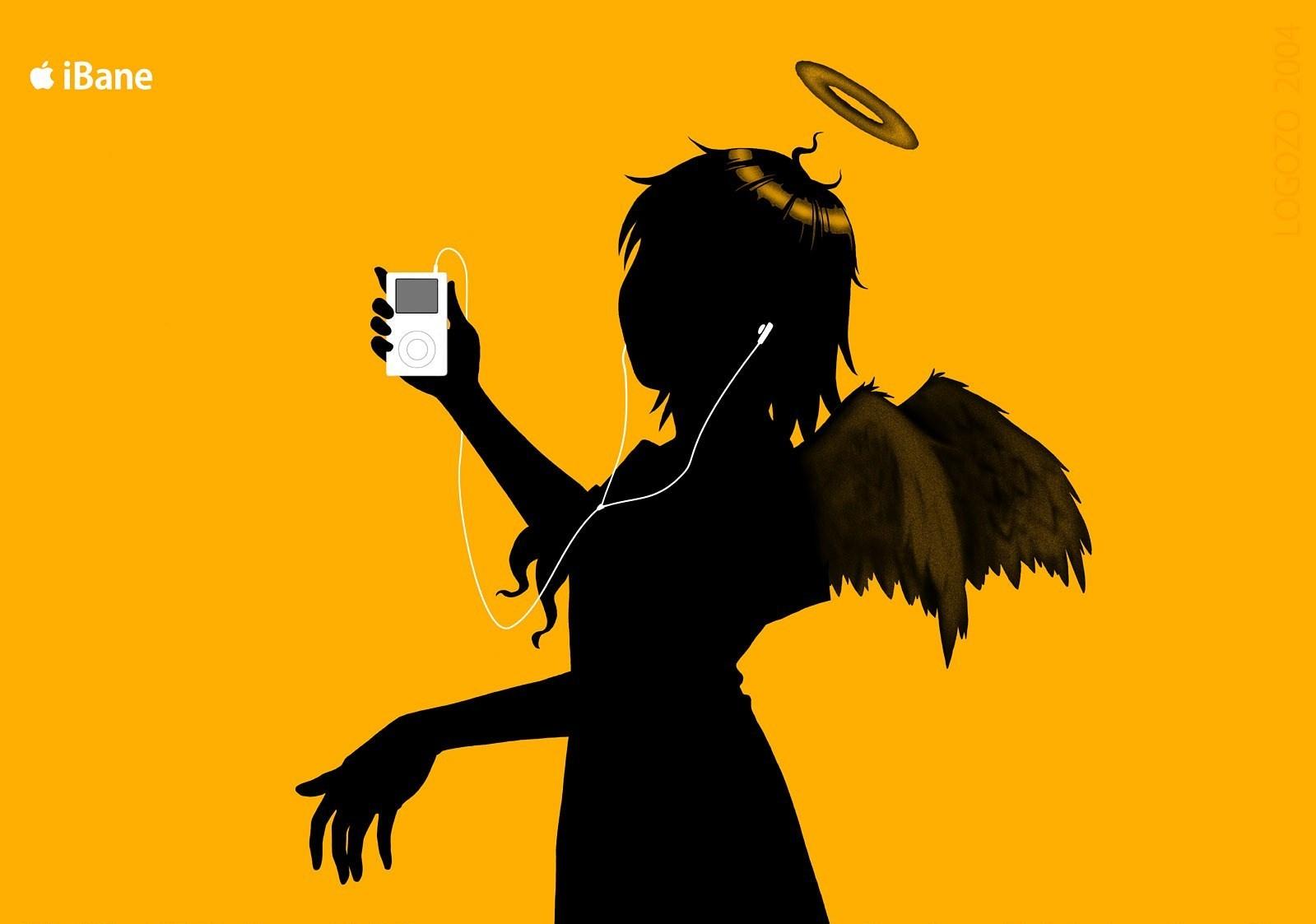 デスクトップ壁紙 図 シルエット 漫画 Ipod オレンジ色の背景