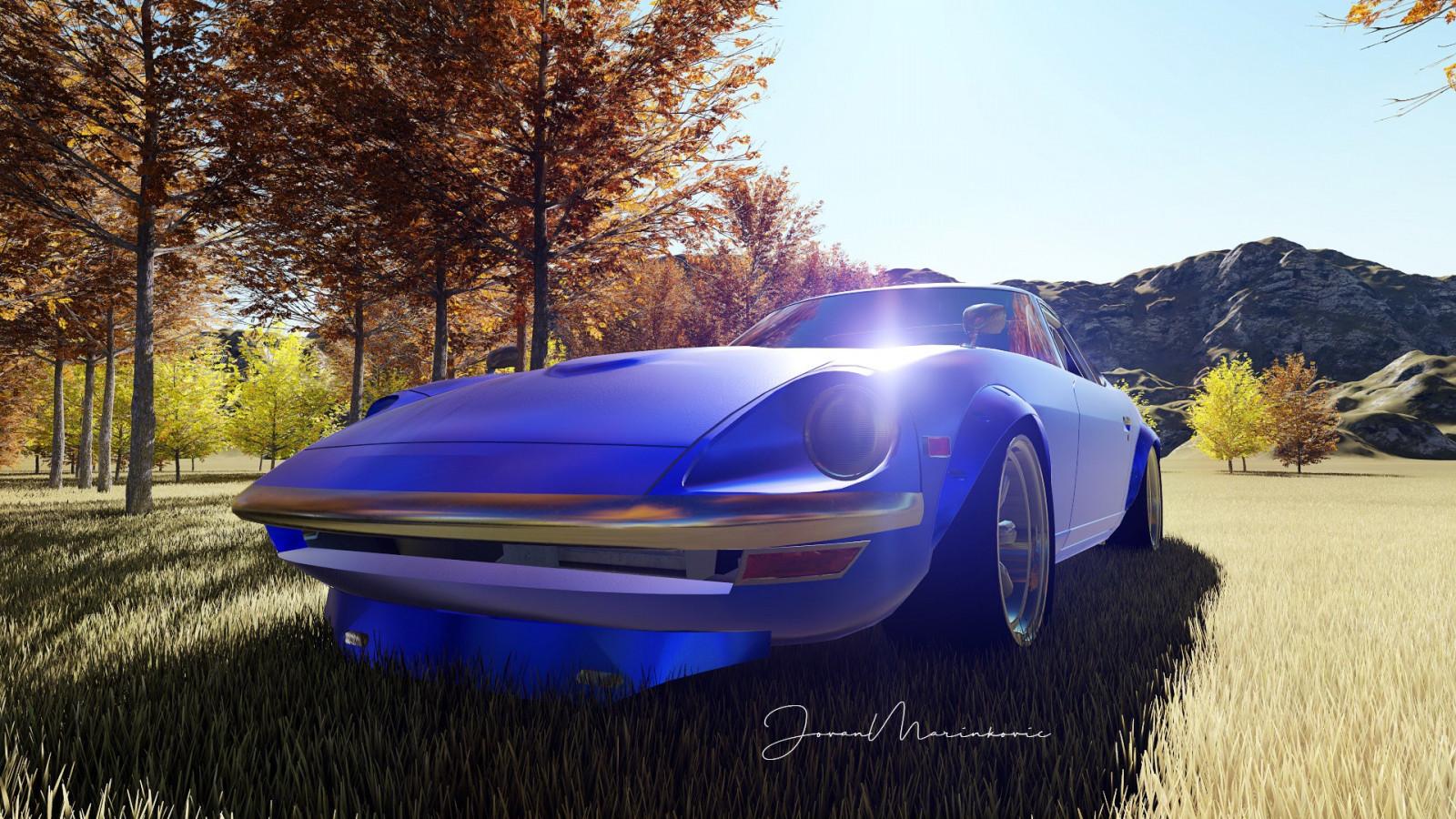 Nissan Fairlady Z >> デスクトップ壁紙 : 日産フェアレディZ, s30, 日本の自動車, 3D, レンダリングする, 青い車, ポルシェ ...