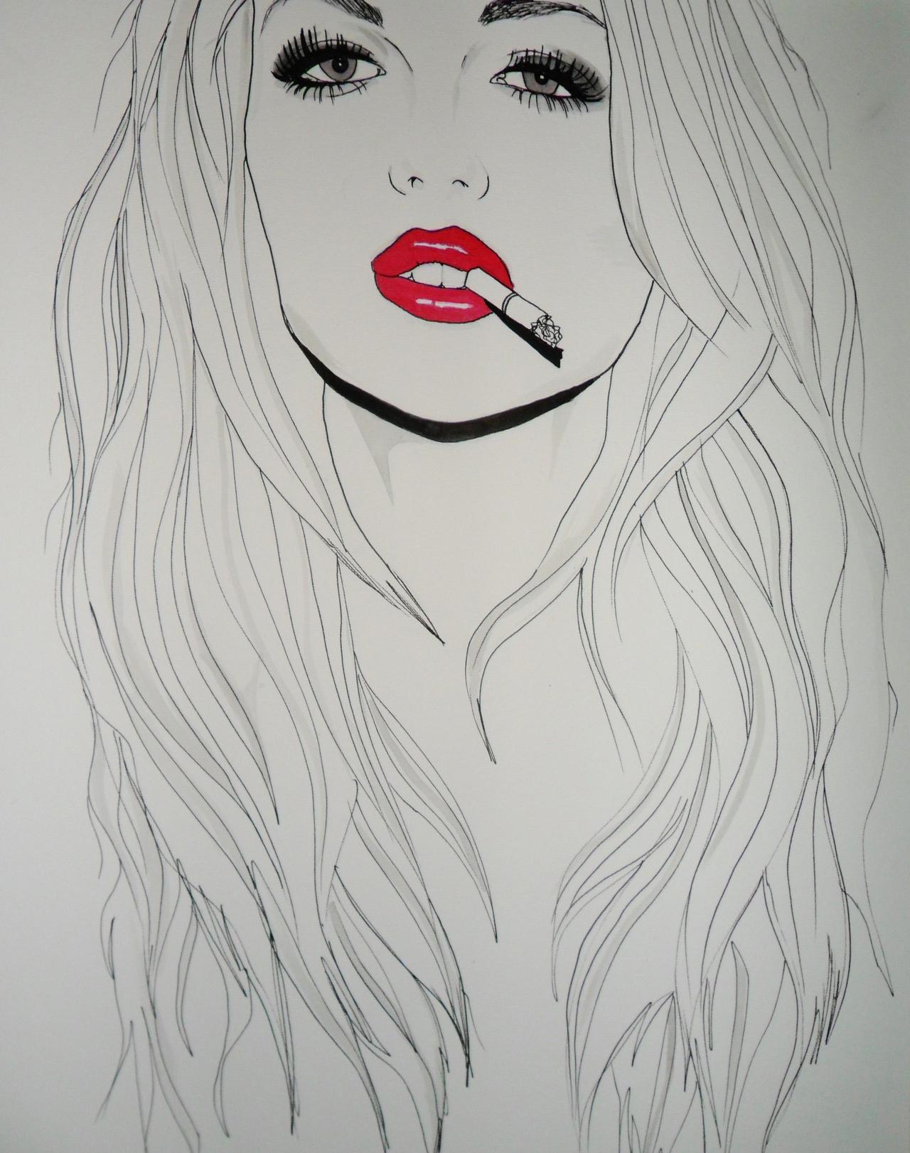 Wallpaper Face Long Hair Artwork Black Hair Mouth Nose