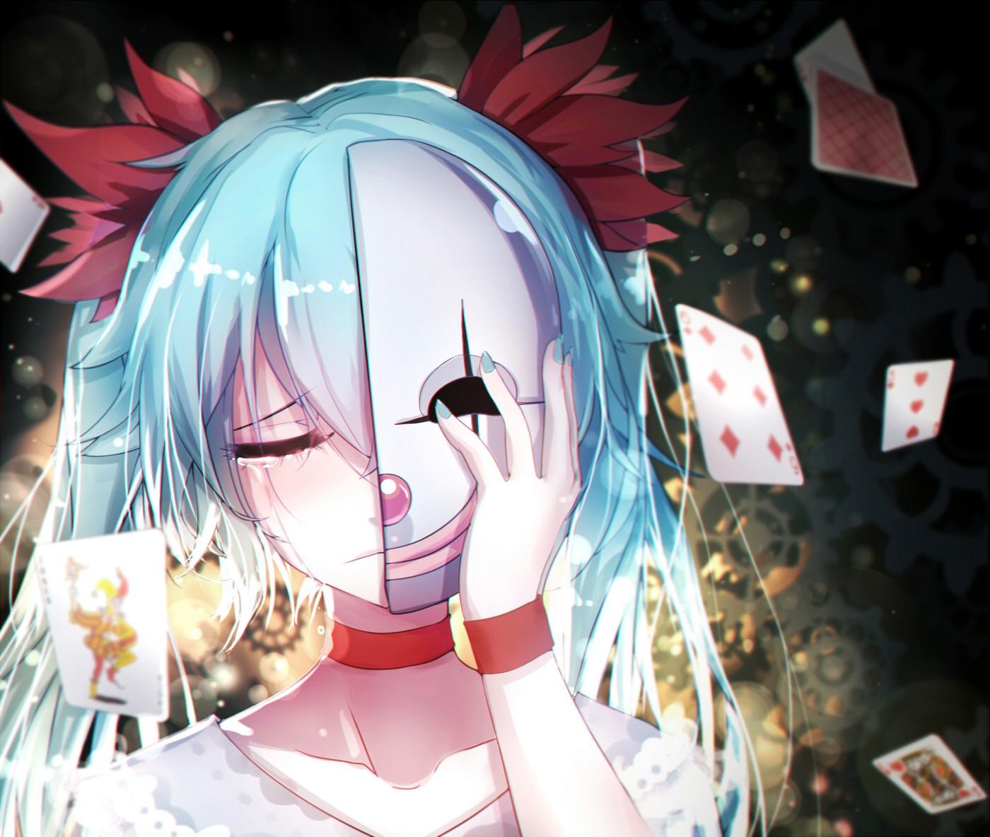 Wallpaper : anime girls, mask, Vocaloid, Hatsune Miku, tears