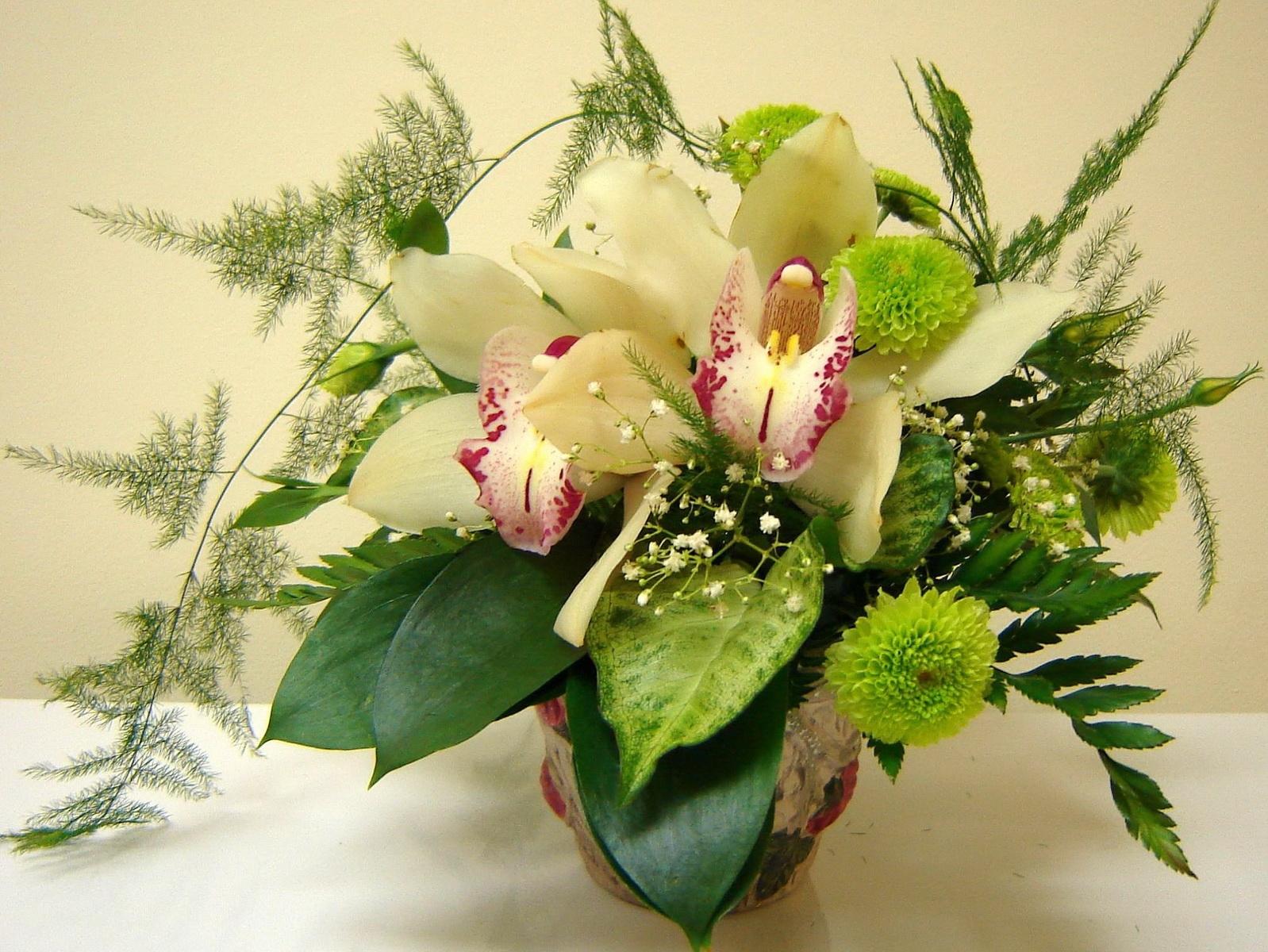Hintergrundbilder orchideen gr n bl hen chrysanthemen kunst blume flora strau vase - Orchideen arrangement ...