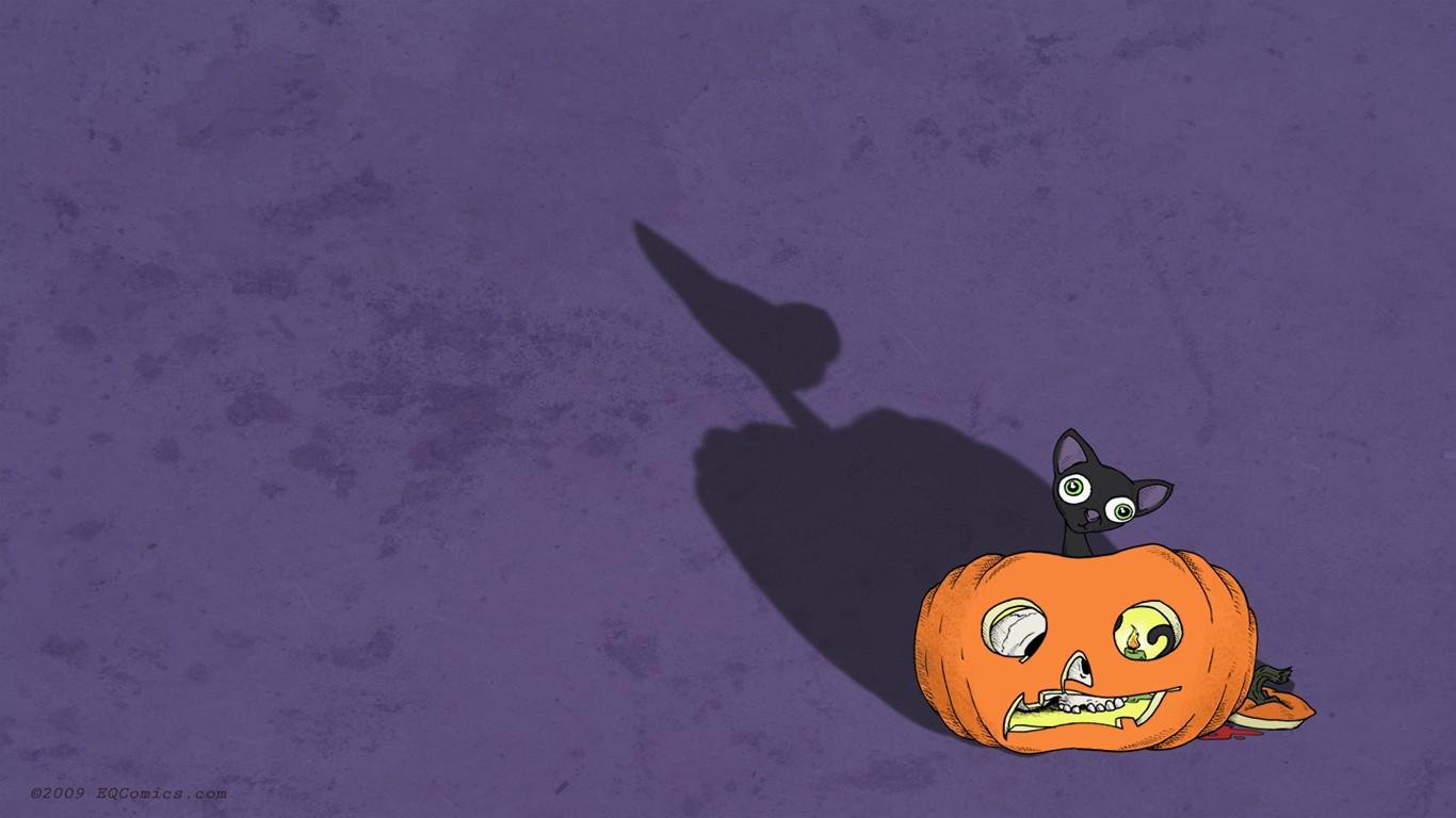Wallpaper Illustration Cat Halloween Pumpkin Artwork Cartoon Black Cat Screenshot Computer Wallpaper 1366x768 Pheaton 225454 Hd Wallpapers Wallhere