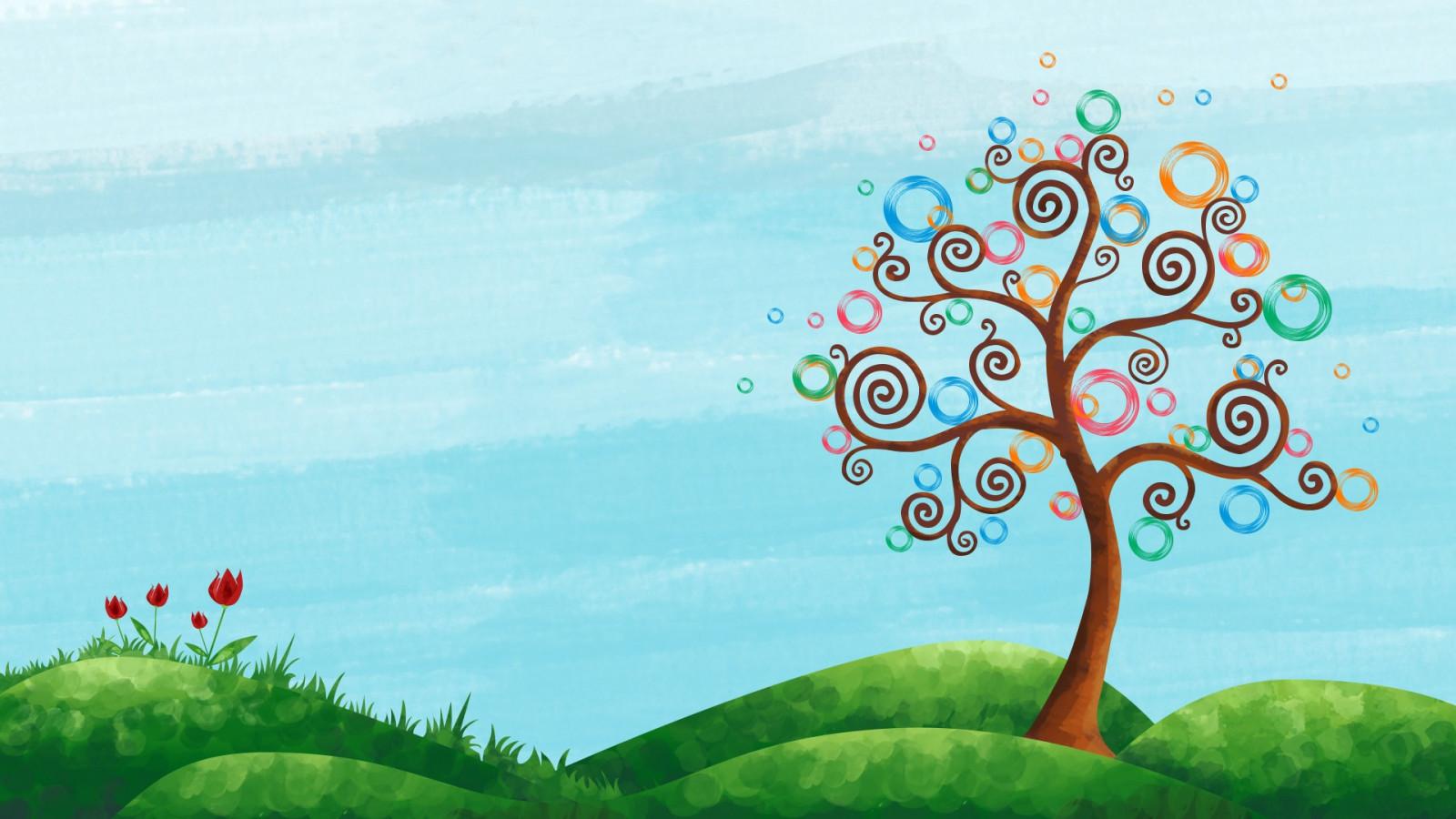 Картинка с деревьями для детей для фона