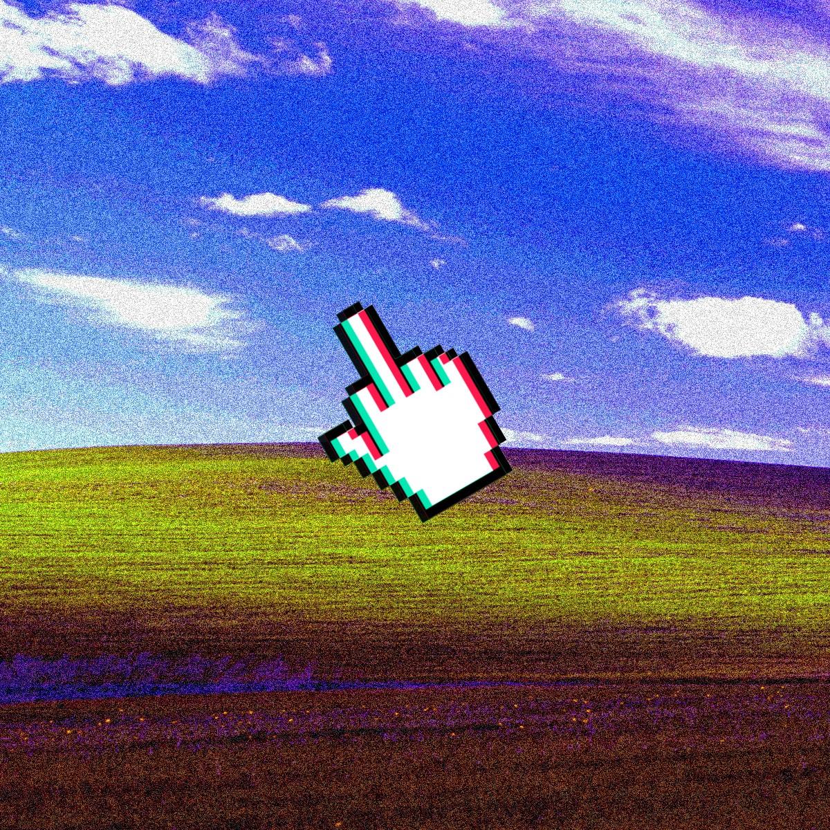 デスクトップ壁紙 デジタルアート 空 中指 風 地平線 Vhs