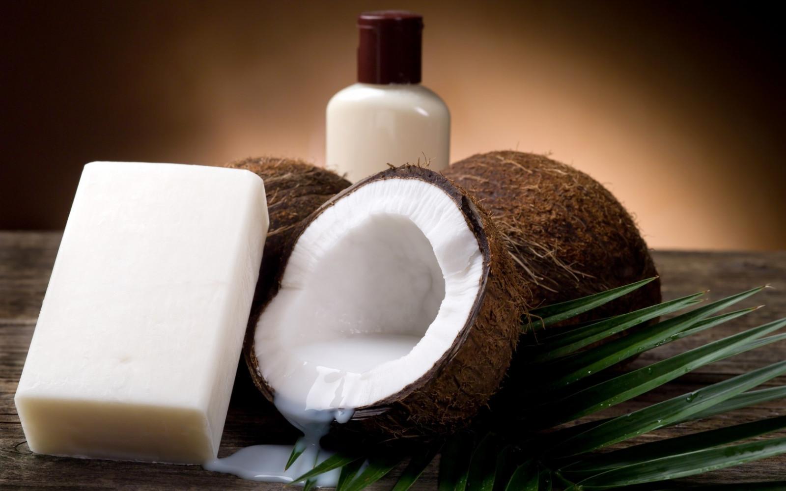 food, table, soap, coconuts, bottle, coconut, flavor