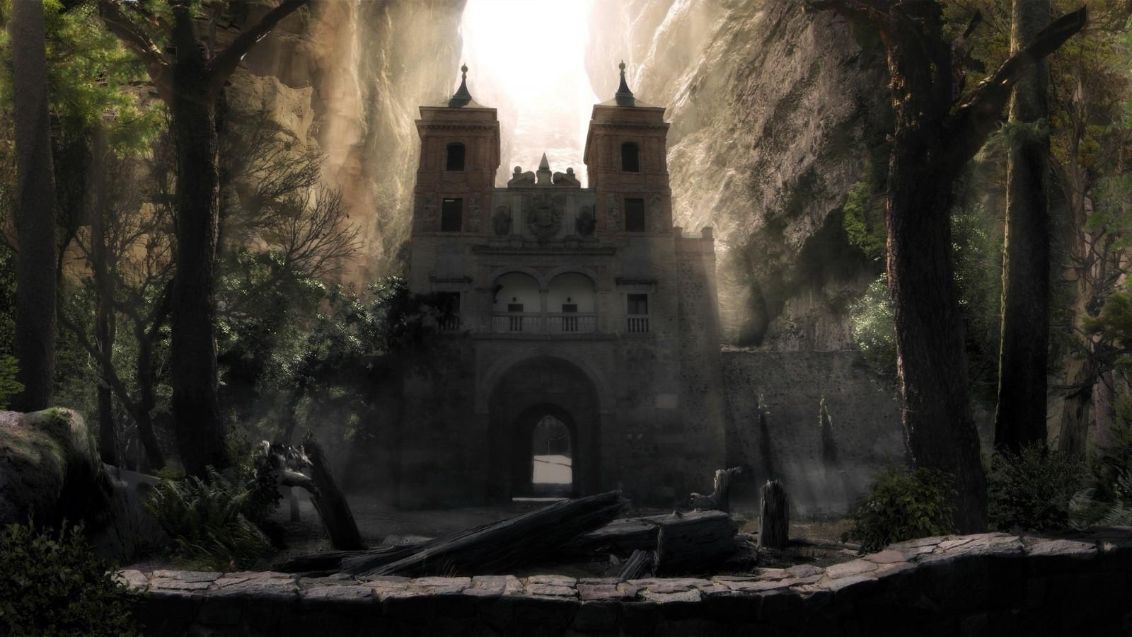 Wallpaper Temple Fantasy Art Building Monastery