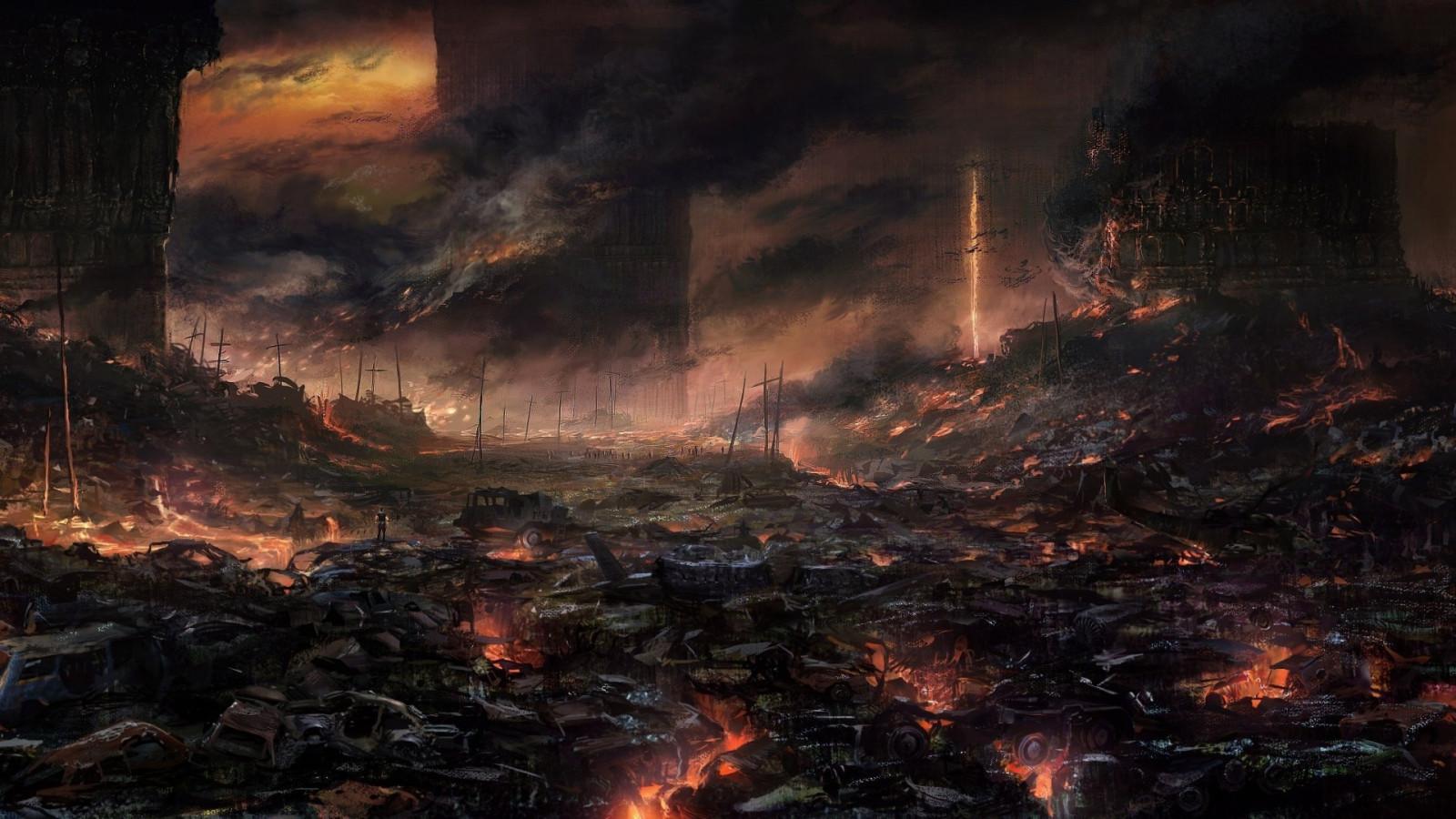 fond d 39 cran paysage apocalyptique ciel ouvrages d 39 art fum e feu atmosph re lave terre. Black Bedroom Furniture Sets. Home Design Ideas