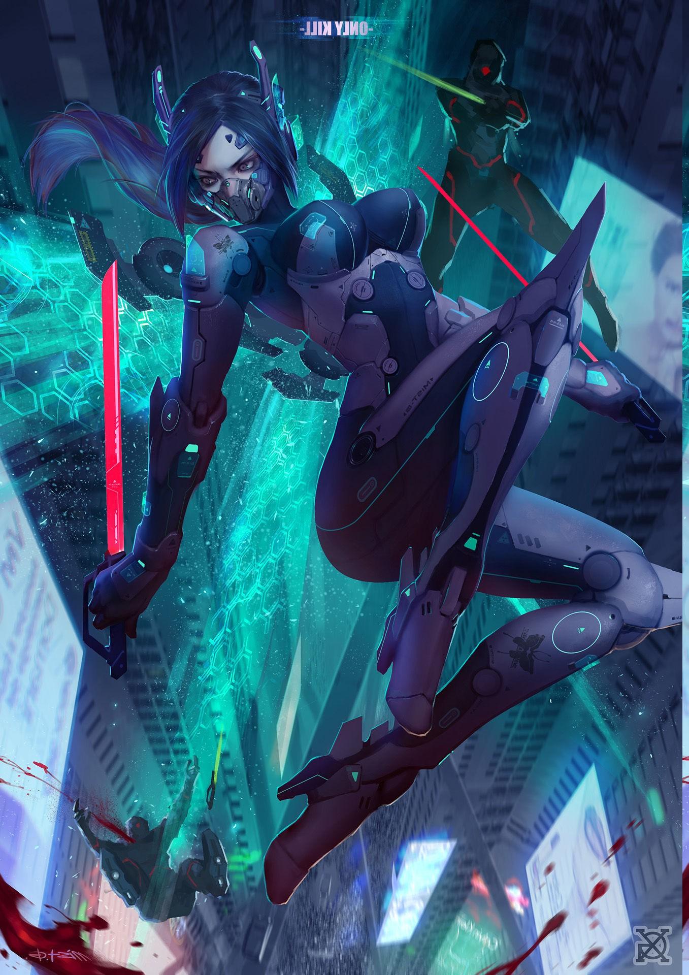 Cyberpunk Anime Girls Blood Underwater Warrior Scuba Diving Screenshot Computer Wallpaper Fictional Character Marine Biology Underwater