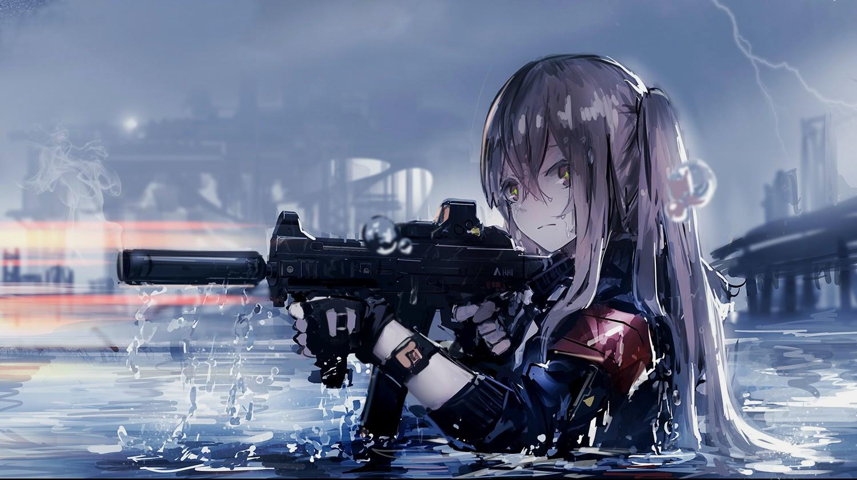 デスクトップ壁紙 銃 アニメの女の子 機械 アサルトライフル