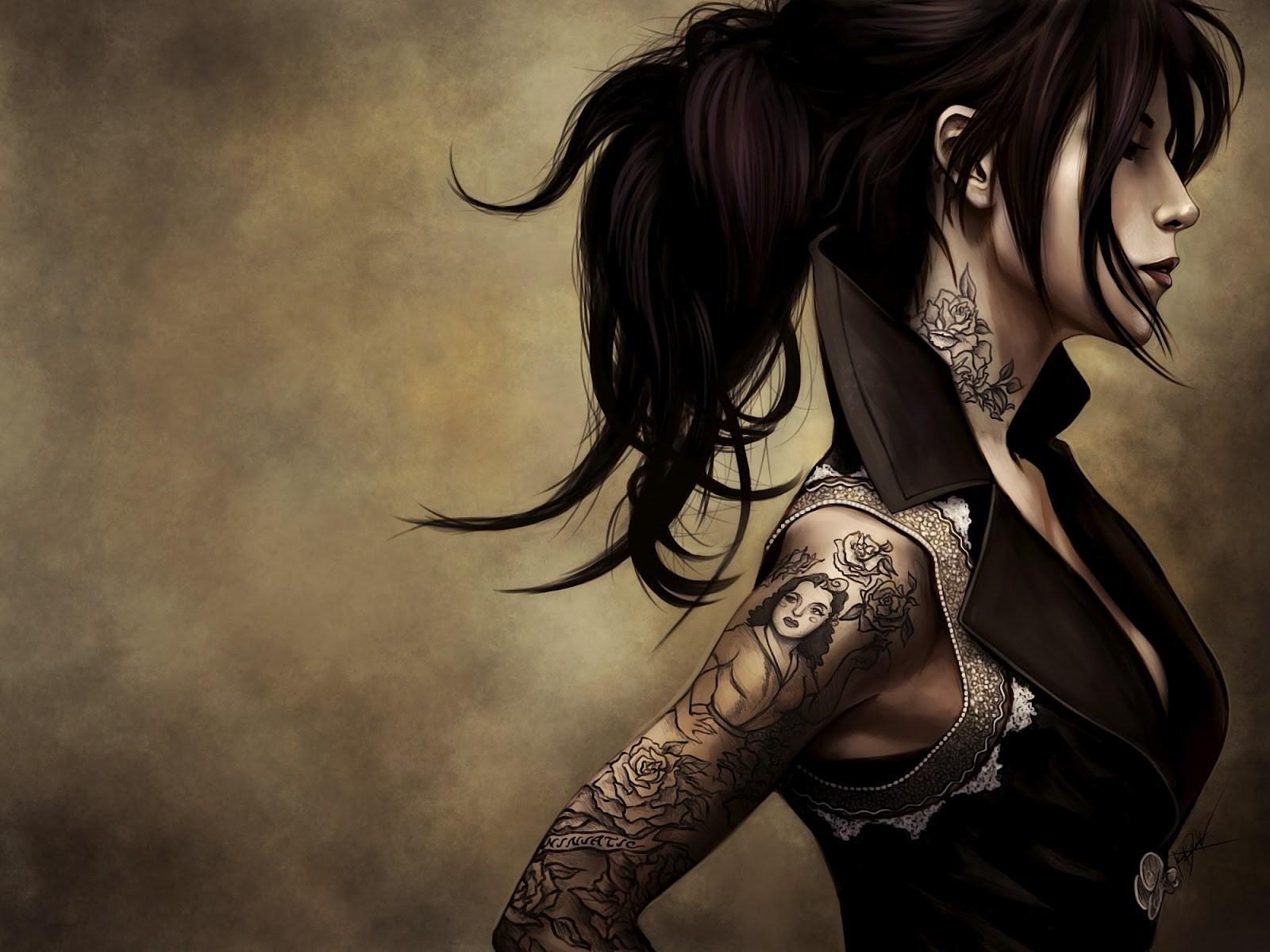 Drawing Women Model Anime Black Hair Kat Von D Darkness Hairstyle Art Woman Warrior