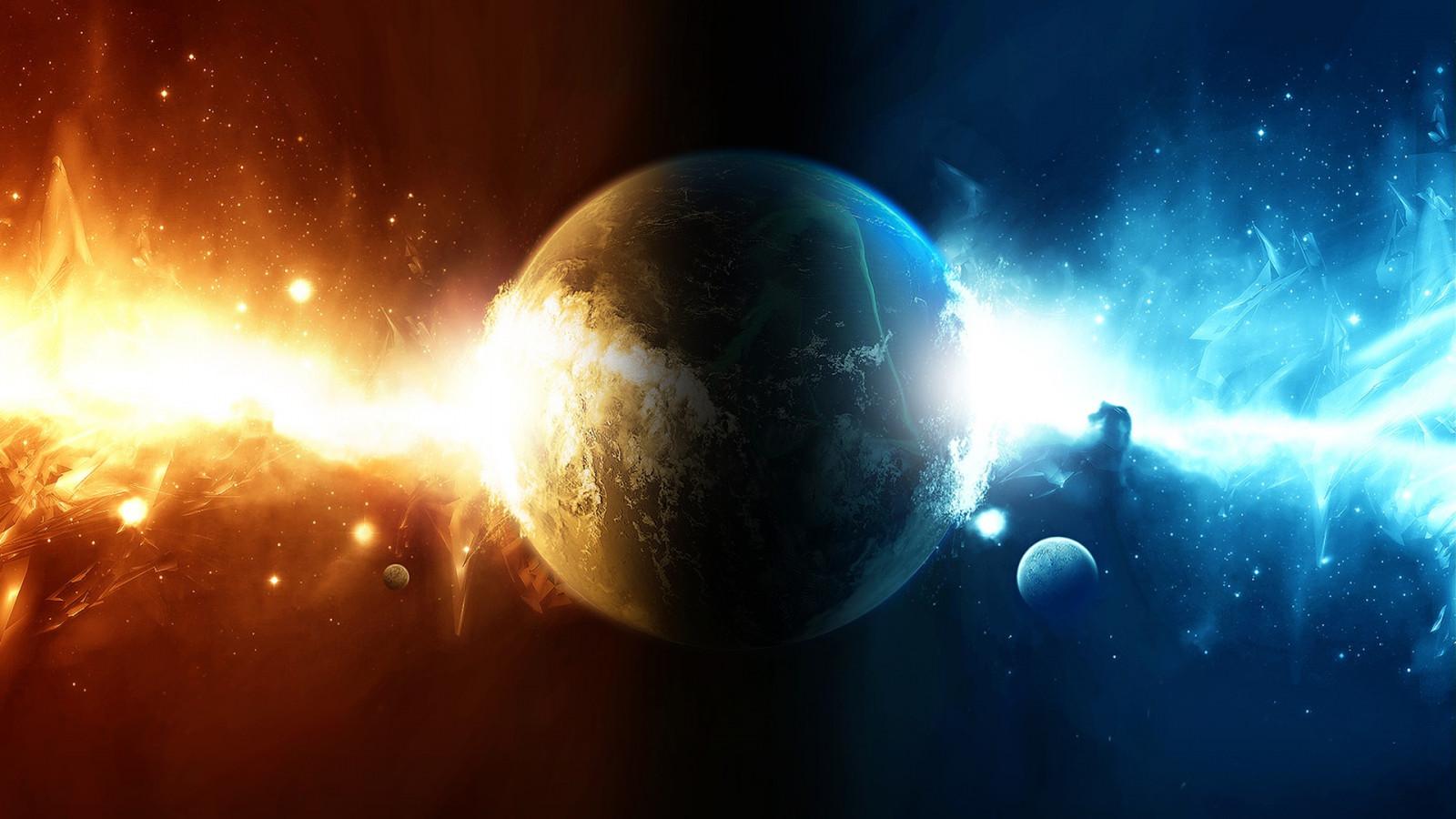wallpaper : sunlight, digital art, planet, space art, ice, fire