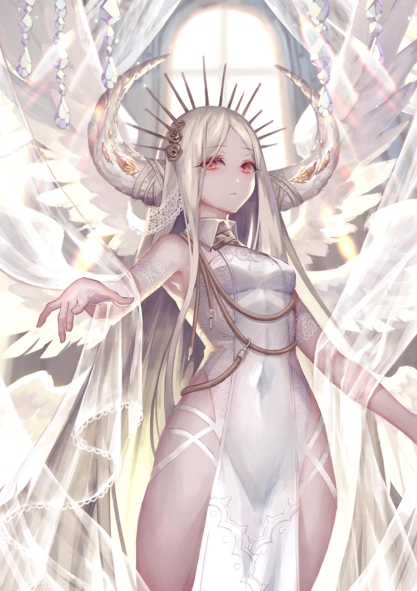 Sexy anime girl with white hair