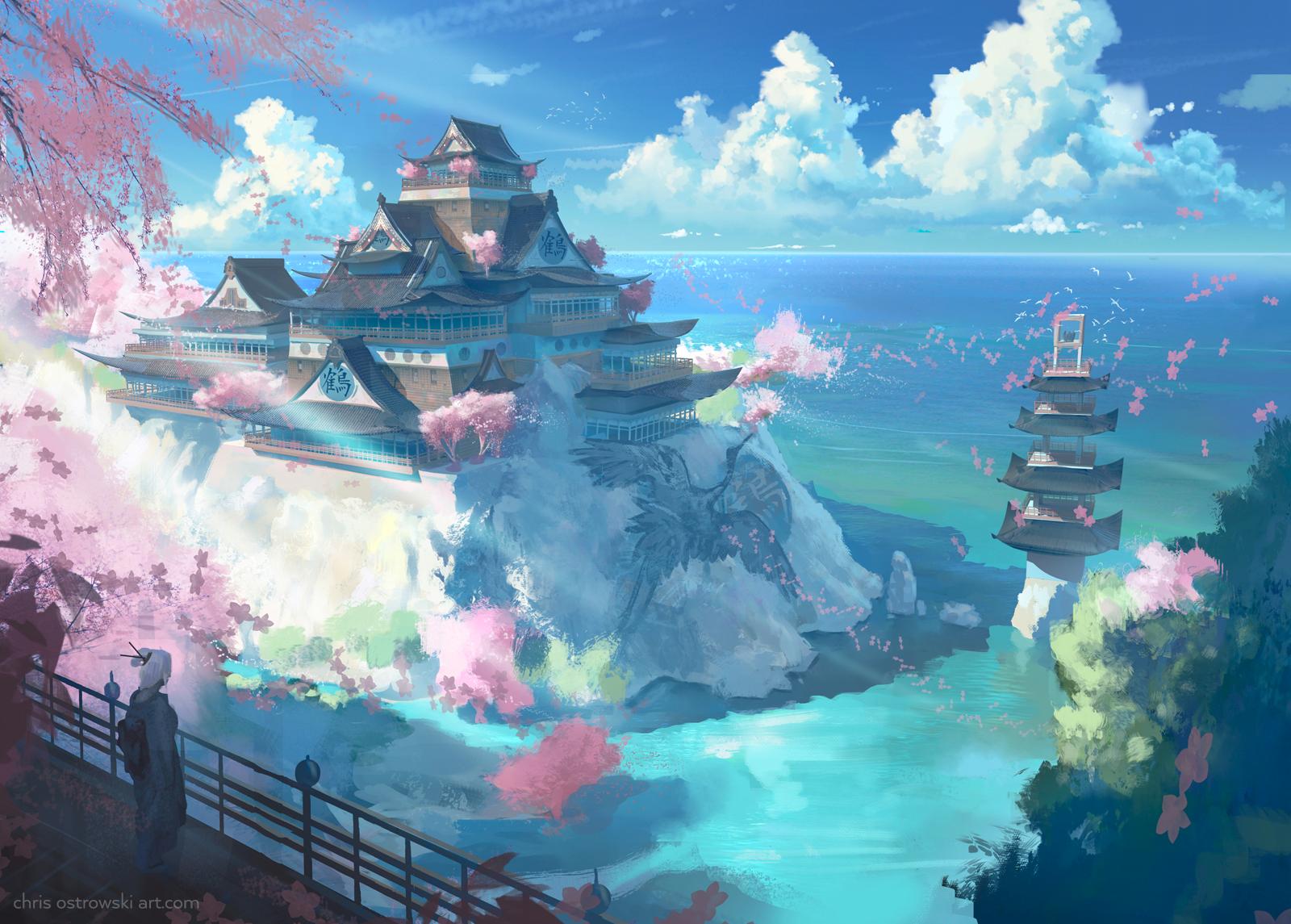 Wallpaper : Japan, landscape, water, nature, vehicle, fantasy city ... for Fantasy Water Landscape  45gtk