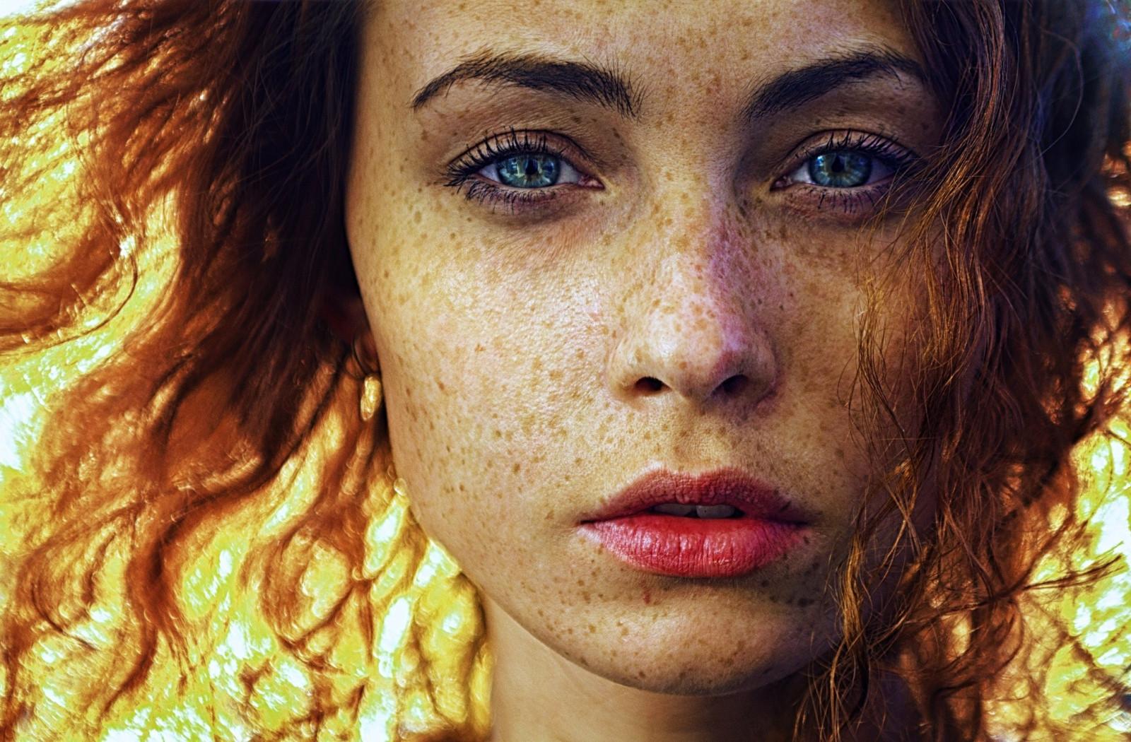 Wallpaper Face Women Model Long Hair Blue Eyes: Wallpaper : Face, Sunlight, Women Outdoors, Redhead, Model
