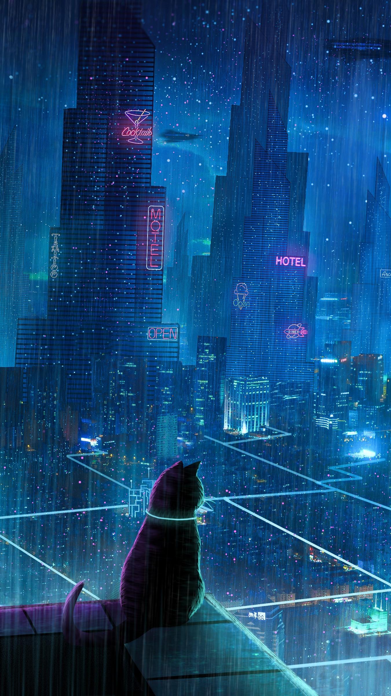 Wallpaper Digital Art Building Cityscape Skyscraper Portrait Display Neon Vertical Cats Rain Cyberpunk Hotel 1350x2400 Zenome 1838165 Hd Wallpapers Wallhere