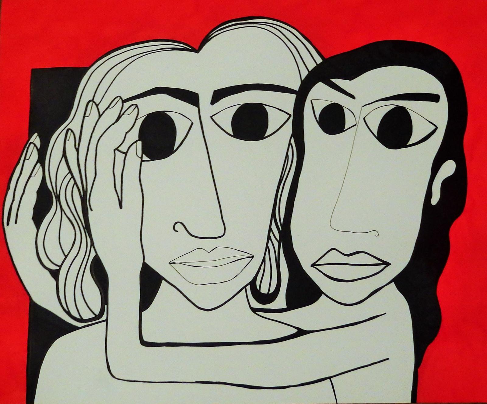 Fond Décran Visage Blanc Noir Illustration Femmes