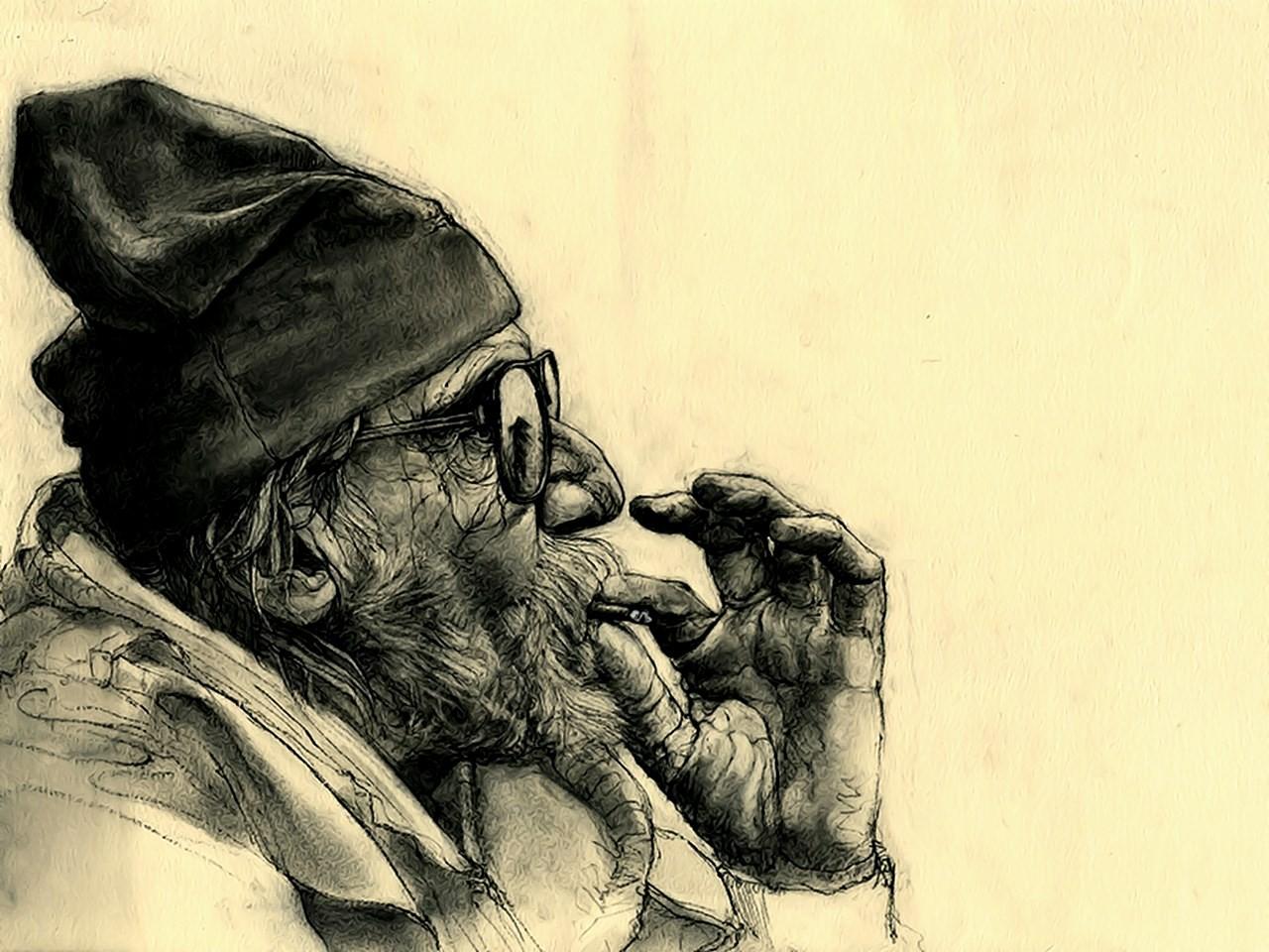Wallpaper Gambar Ilustrasi Potret Merokok Orang Tua Ganja
