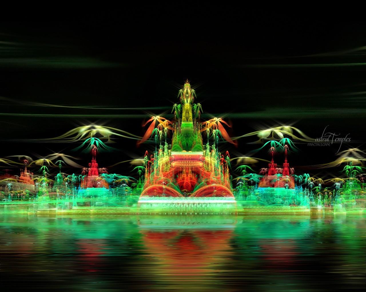 Wallpaper City Night Nature Smoke Green Fractal Imagination