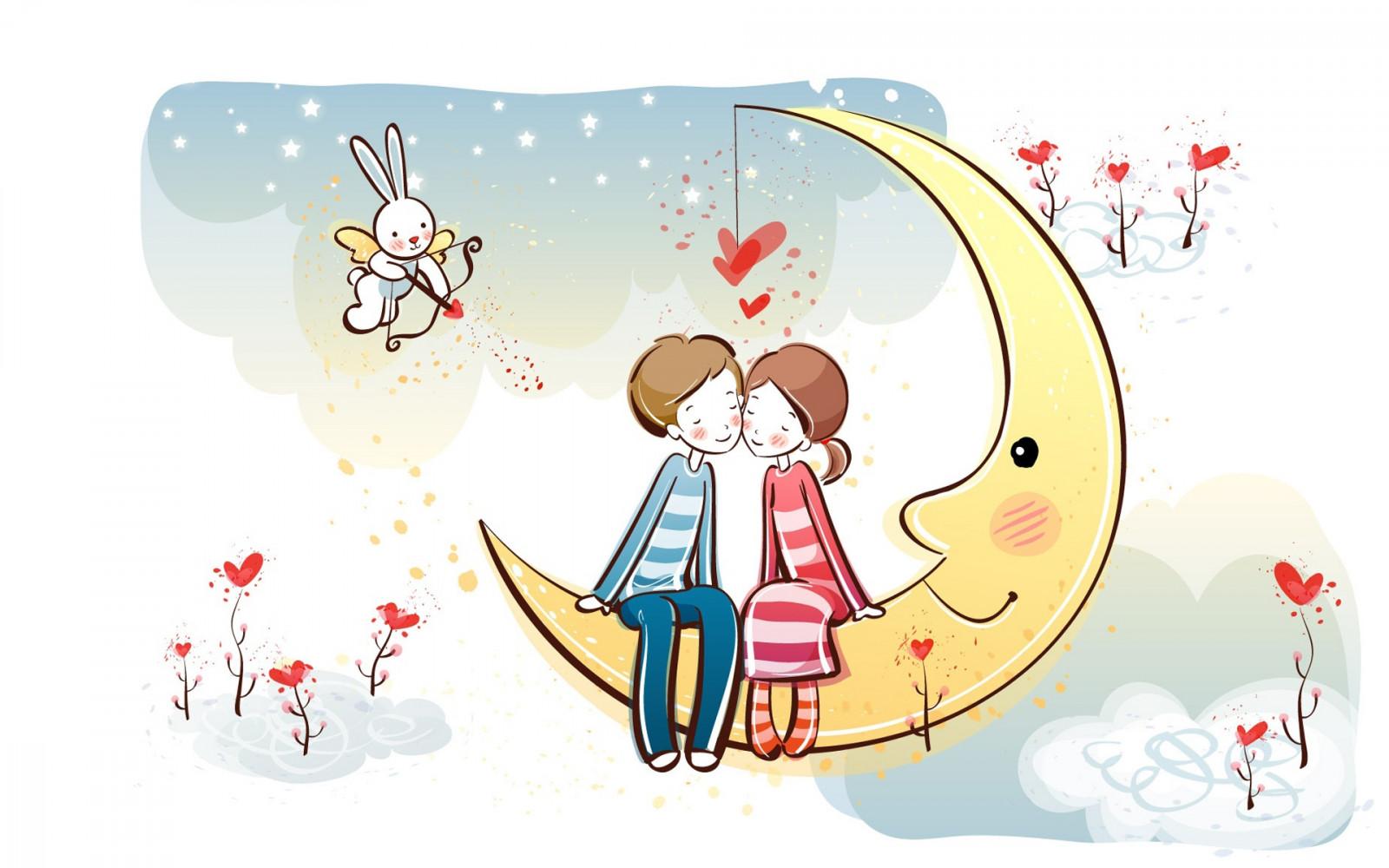 Wallpaper : ilustrasi, cinta, Bulan, gambar kartun, orang-orangan