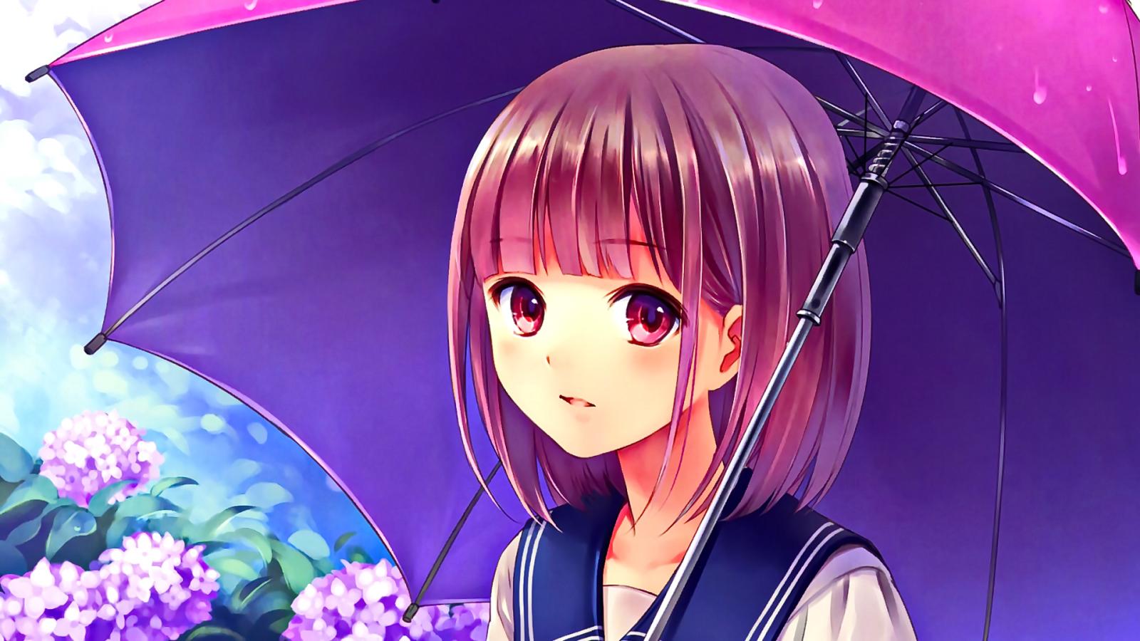 Wallpaper : long hair, anime girls, brunette, open mouth