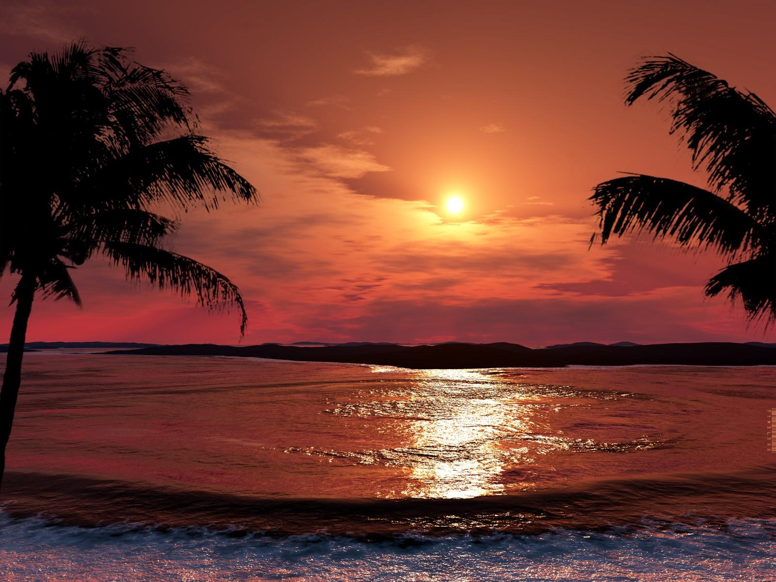 Wallpaper Sinar Matahari Matahari Terbenam Laut Pantai