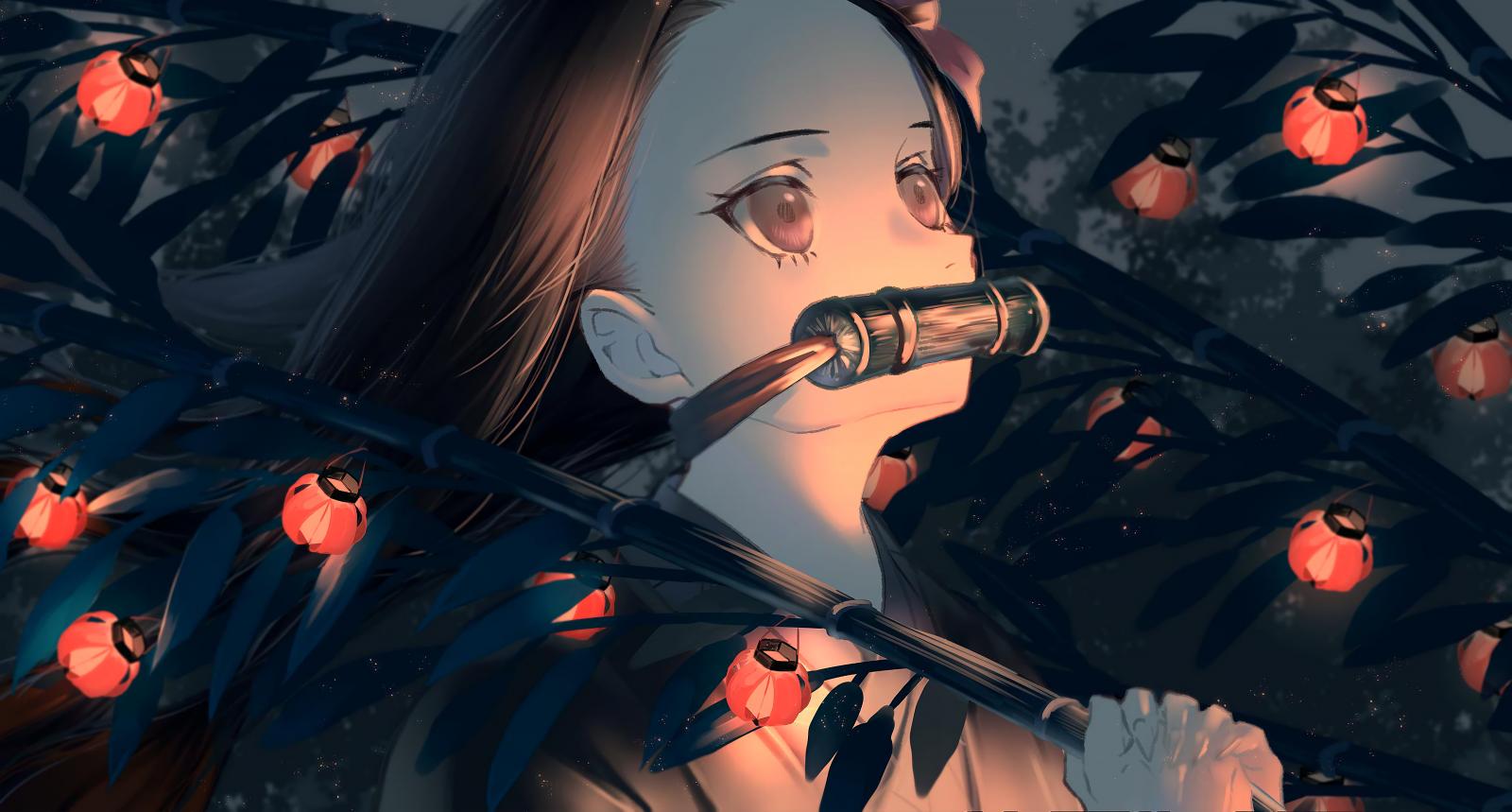 Wallpaper : Kamado Nezuko, Demon Slayer, lantern, Kimetsu ...