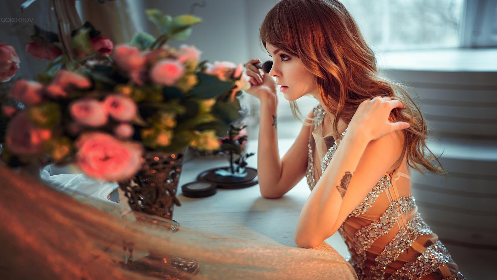 Ivan Gorokhov, Anastasia Scheglova, women, model, long hair, wavy hair, blonde, face, tattoo, dress, depth of field, makeup brush