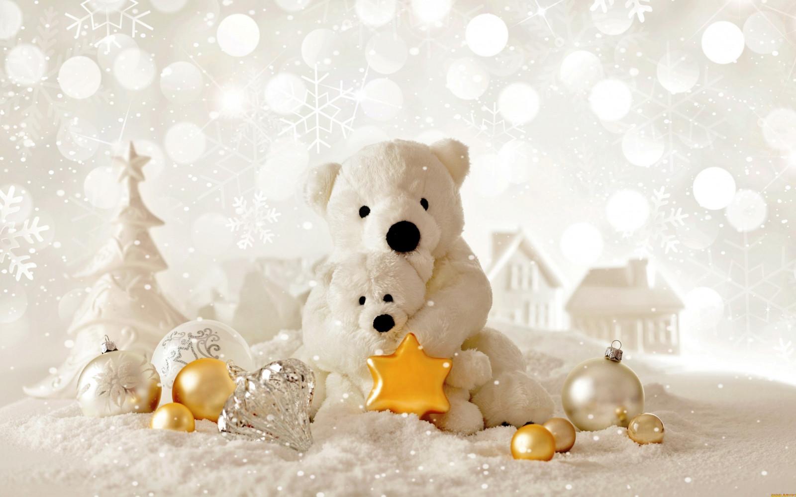 デスクトップ壁紙 白 テディベア クリスマスの装飾品 おもちゃ