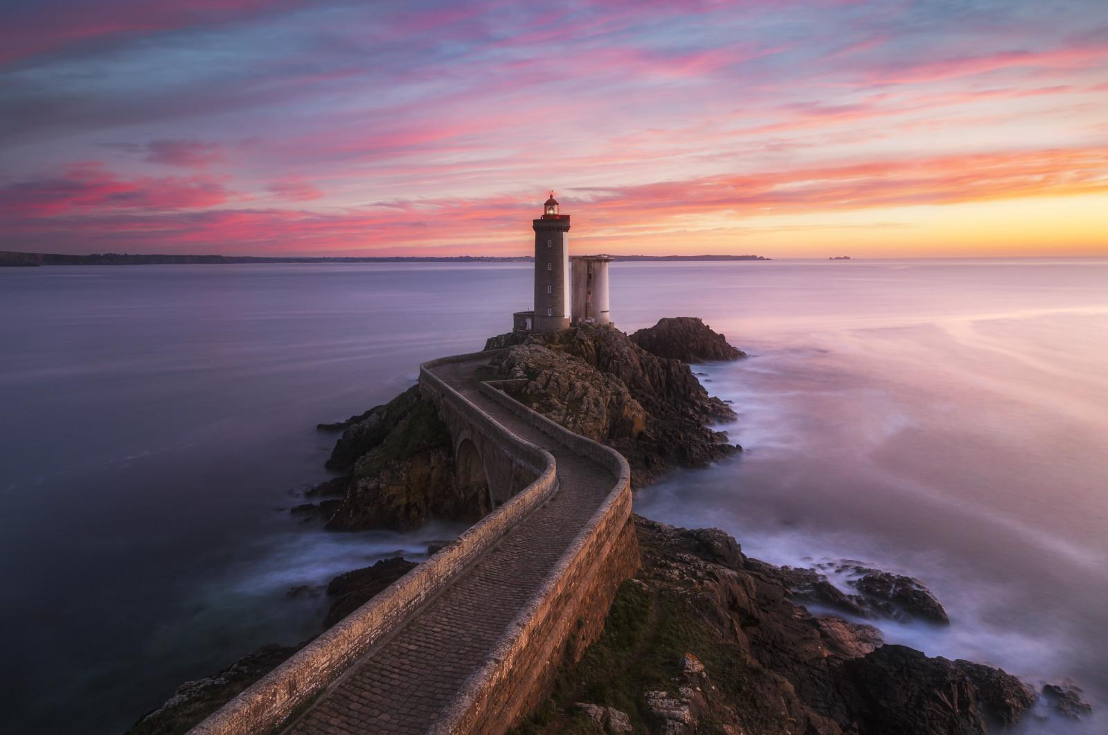 Wallpaper : landscape, sunset, sea, rock, shore, red ...