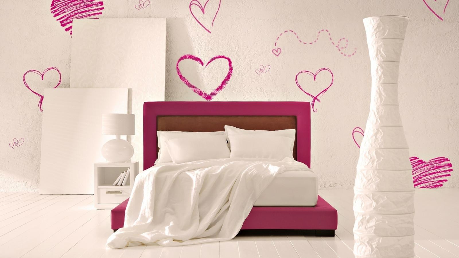 Wallpaper White Heart Room Wall Pink Interior Design