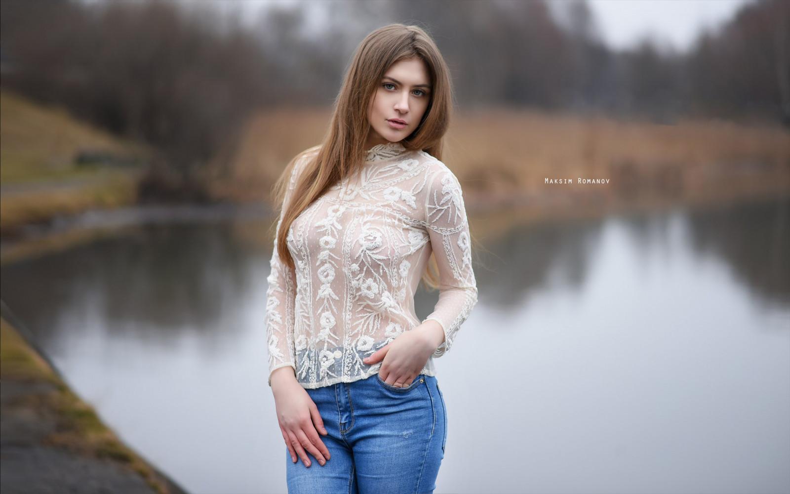 Wallpaper  Blonde, Portrait, Lake, Women Outdoors, See -4246