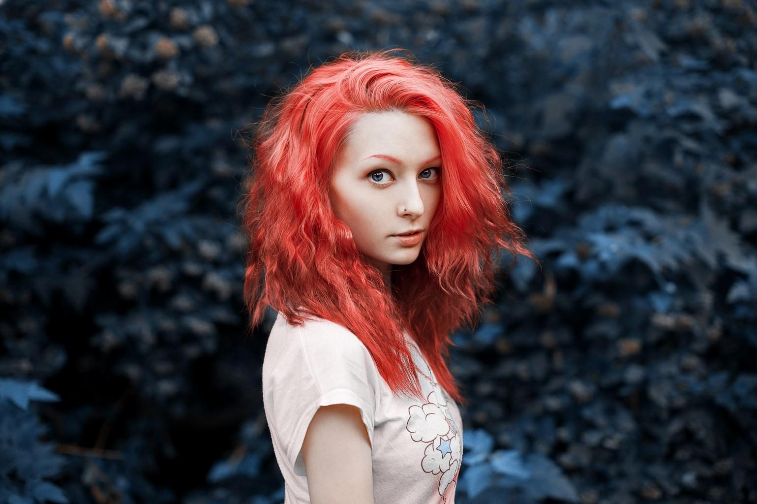 Wallpaper Face Women Redhead Model Dyed Hair Blue