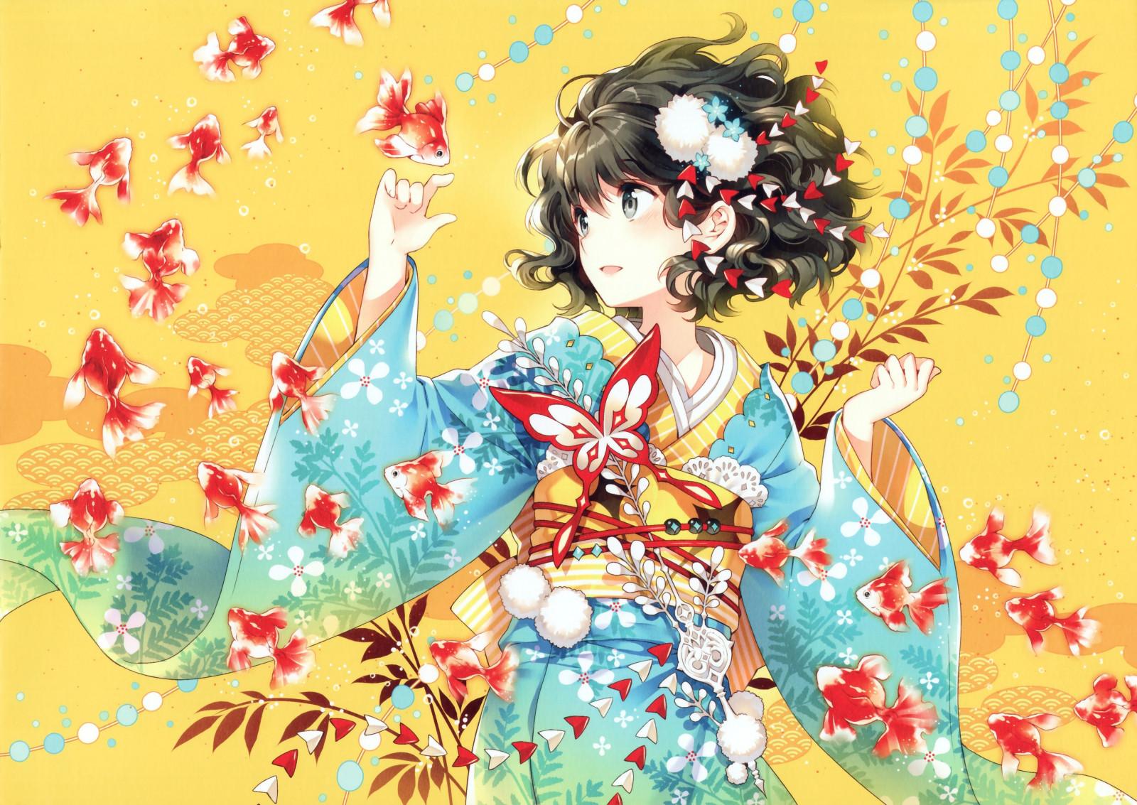 デスクトップ壁紙 図 アニメの女の子 魚 元の文字 和服 着物