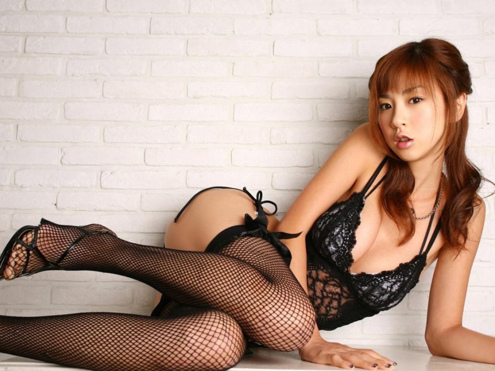Aki Hoshino wallpaper : women, model, long hair, brunette, looking at