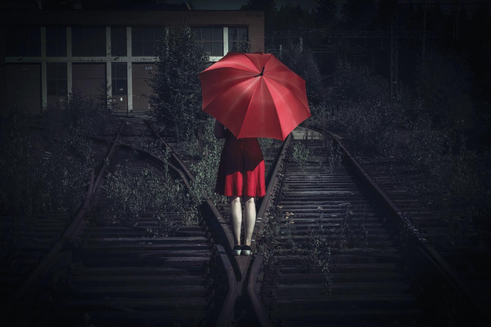 Women Railway Red Umbrella