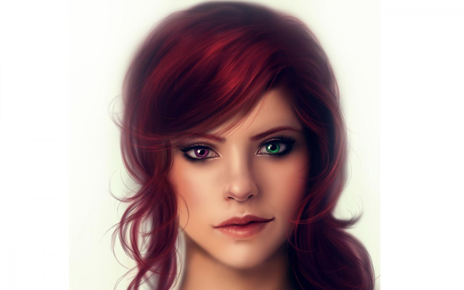 Mit grünen und augen haaren roten mädchen Schönheit Mädchen