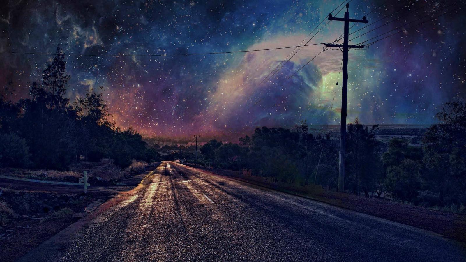 Wallpaper : 1920x1080 px, malam, jalan, bintang, tiang ...
