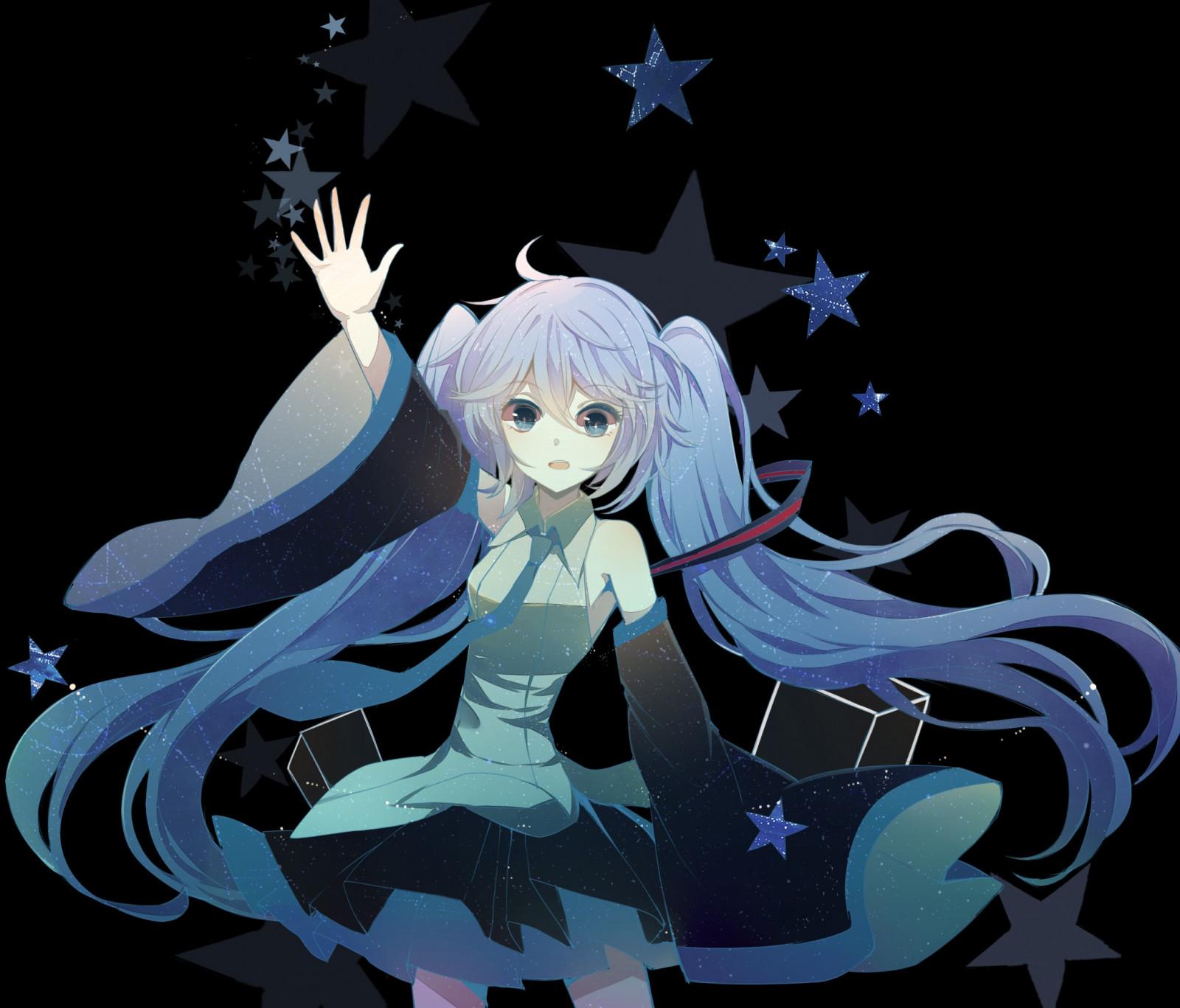 Fond d'écran : illustration, Fond simple, cheveux longs, Anime, Filles anime, Cheveux bleus ...