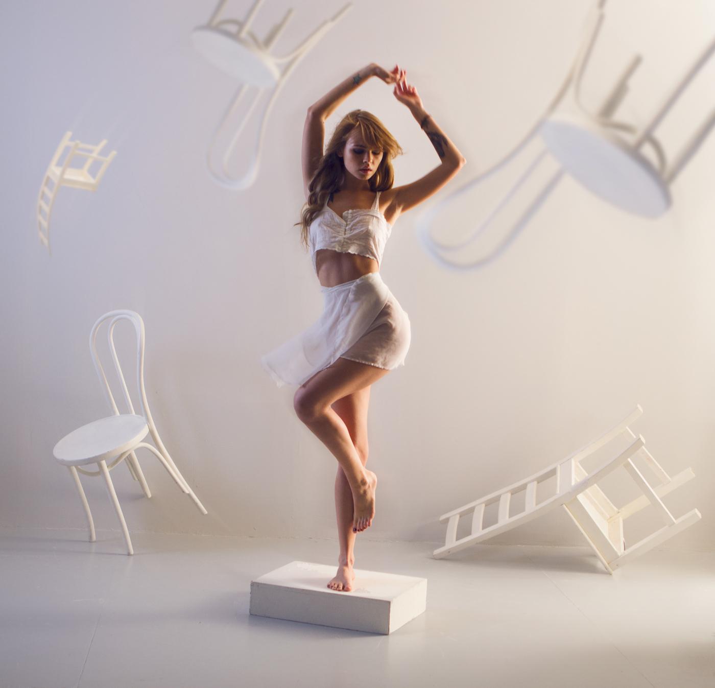 Anastasia Scheglova, model, lingerie, arms up, chair, legs, barefoot, underwear