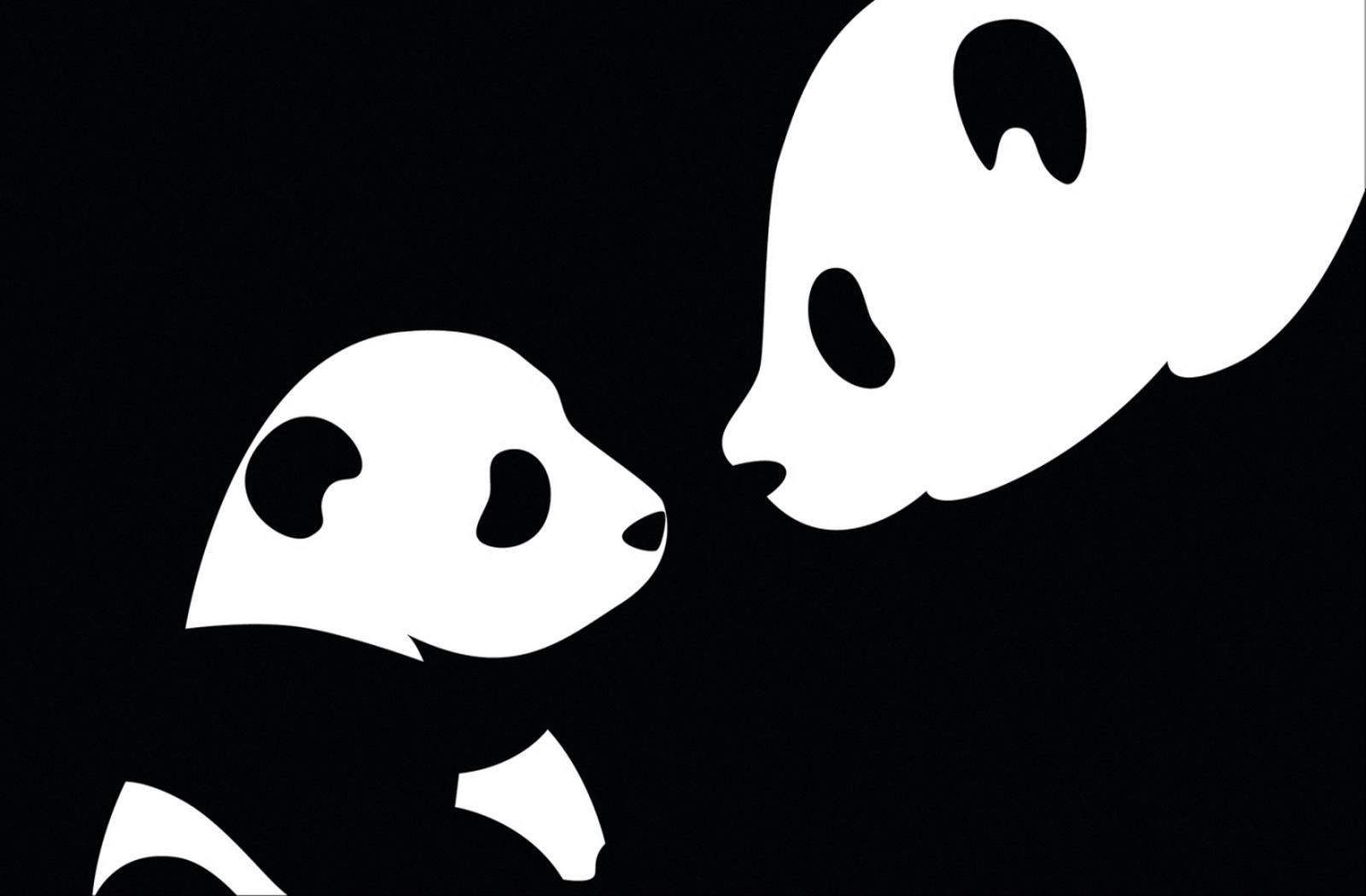 wallpaper drawing illustration silhouette panda emotion head