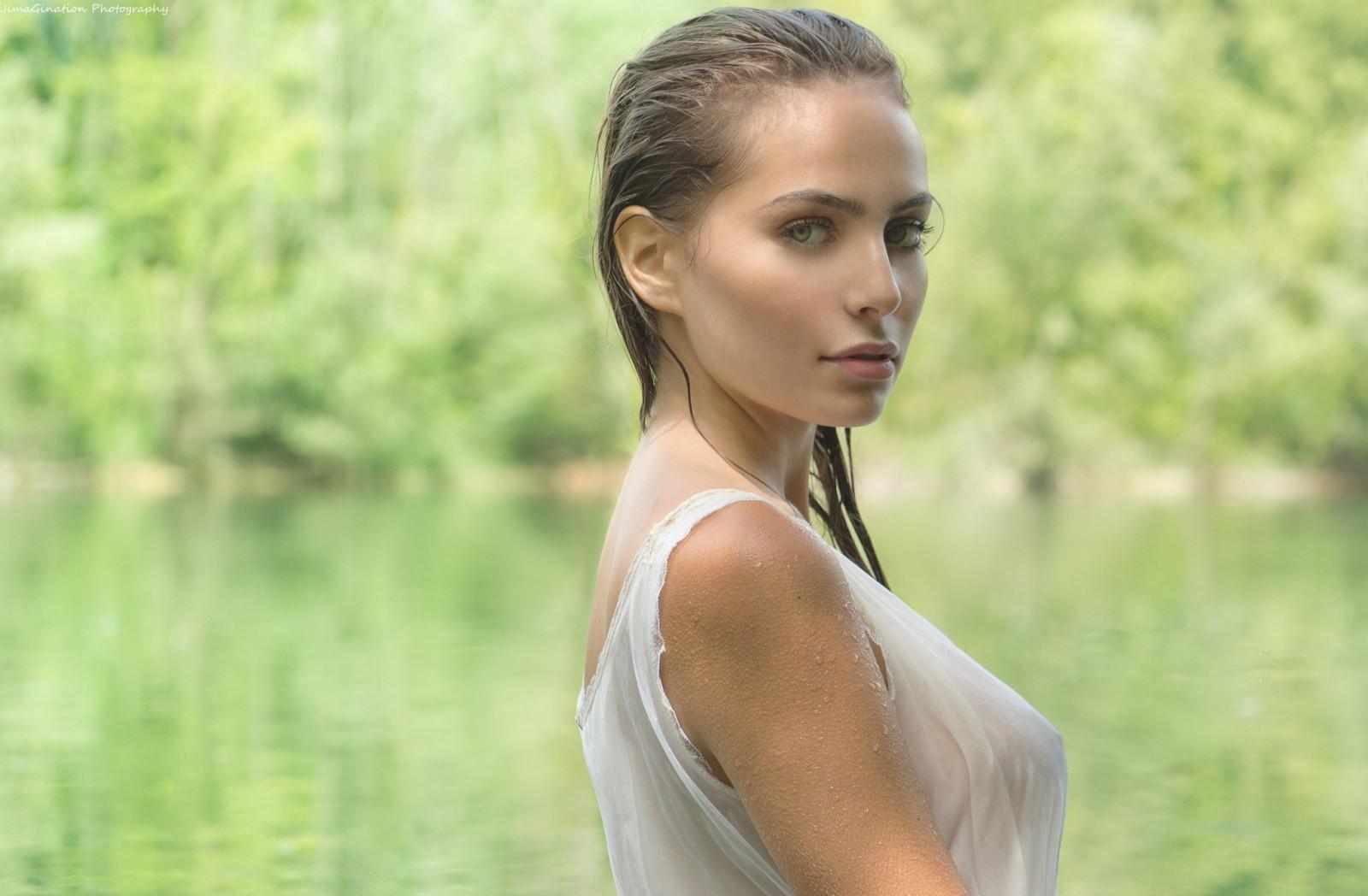 Wallpaper : women outdoors, model, wet clothing, wet hair