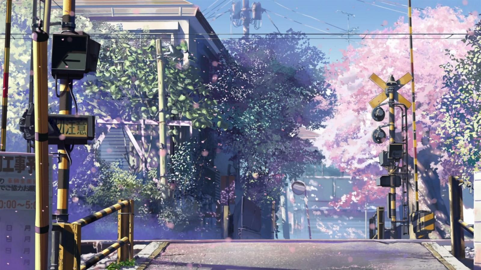 Além dos portões da escola Makoto_Shinkai_anime_5_Centimeters_Per_Second_train_crossroads-40461
